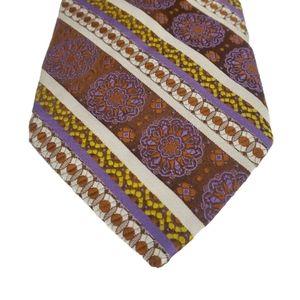 Christian Dior Purple Orange Yellow Patterned Tie